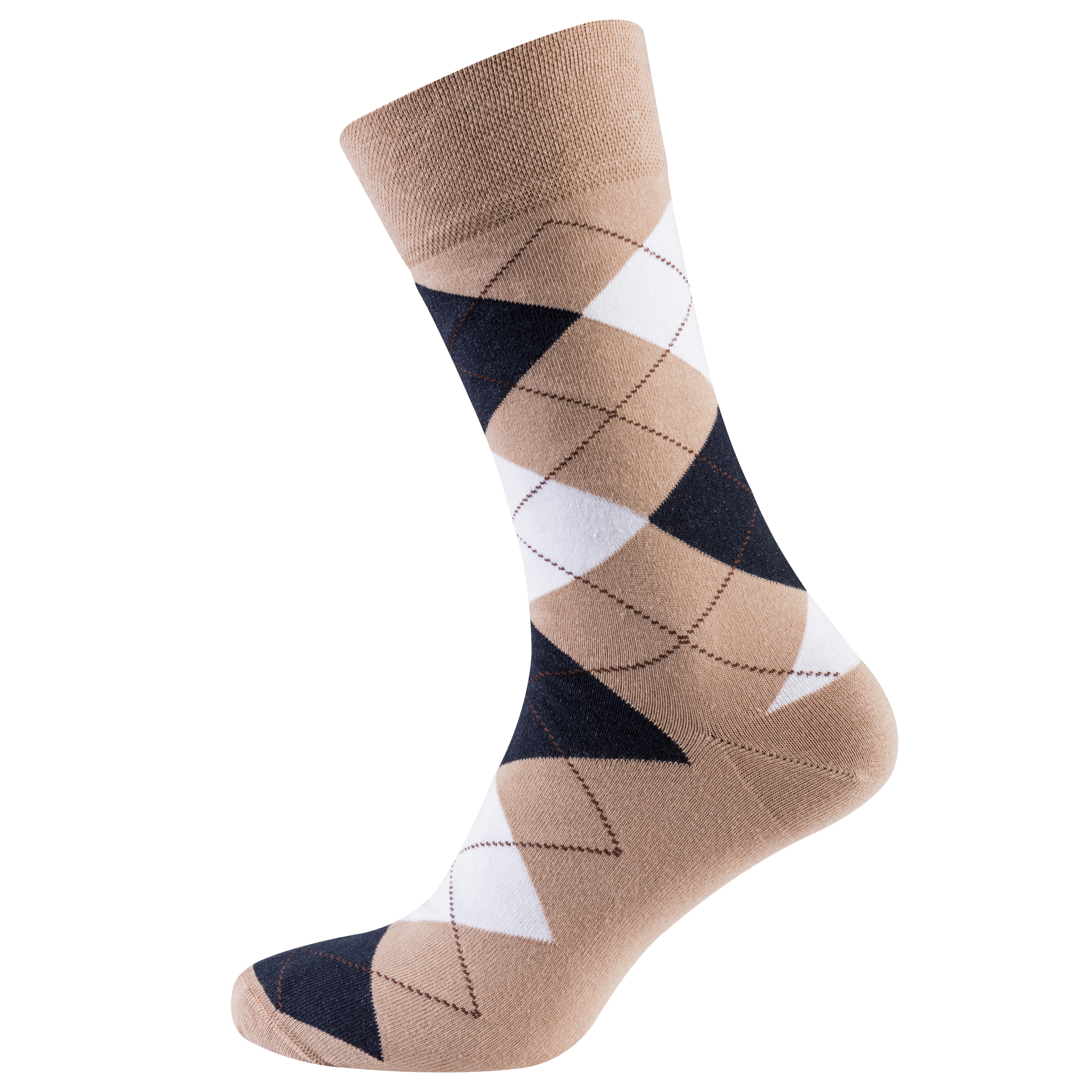 Носки мужские цветные из хлопка, чёрно-бежевый ромб MansSet