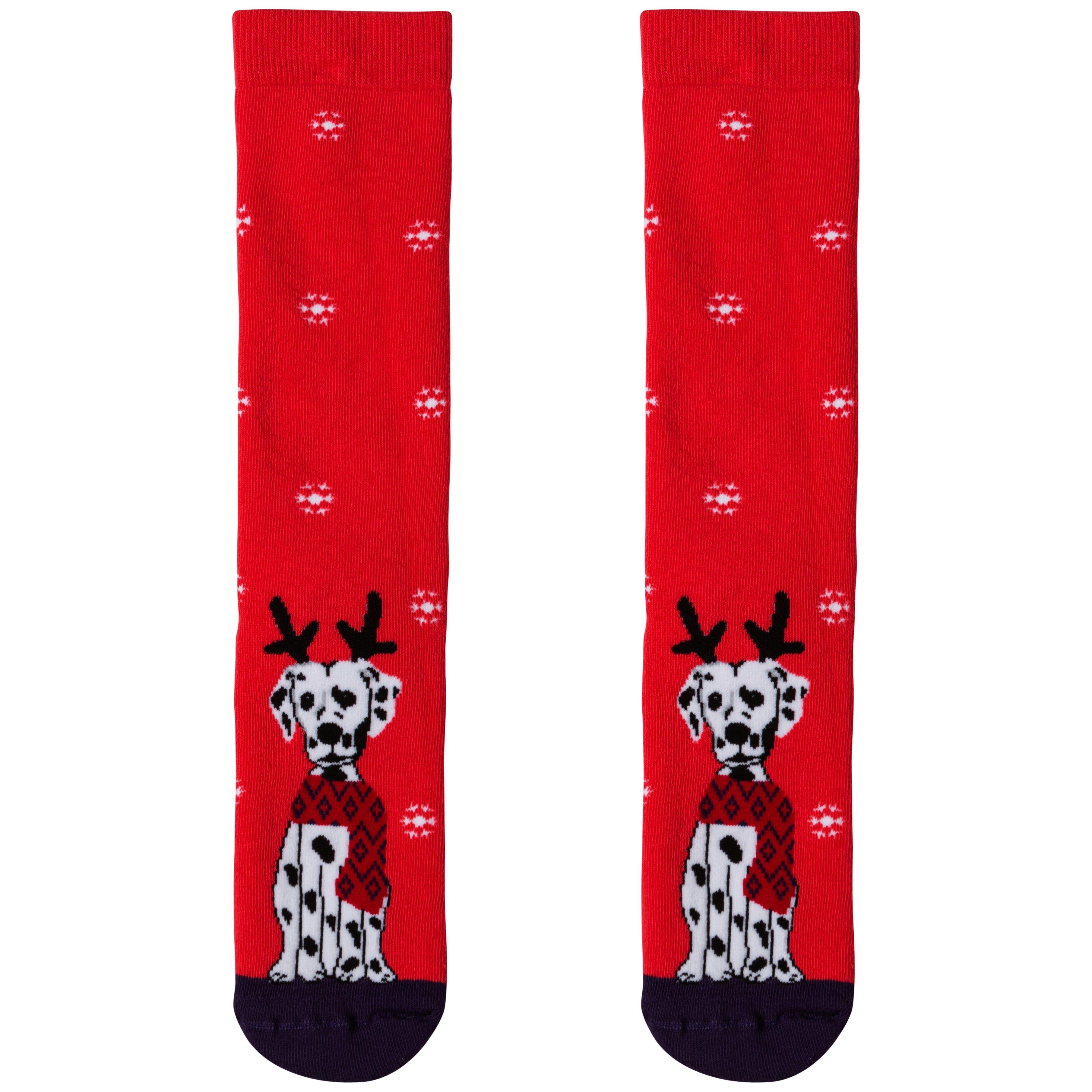 Носки женские новогодние, красный Далматинец MansSet