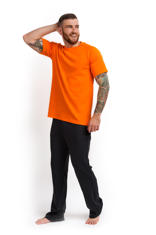Пижама мужская (футболка и штаны) оранжевый с графитовым MansSet