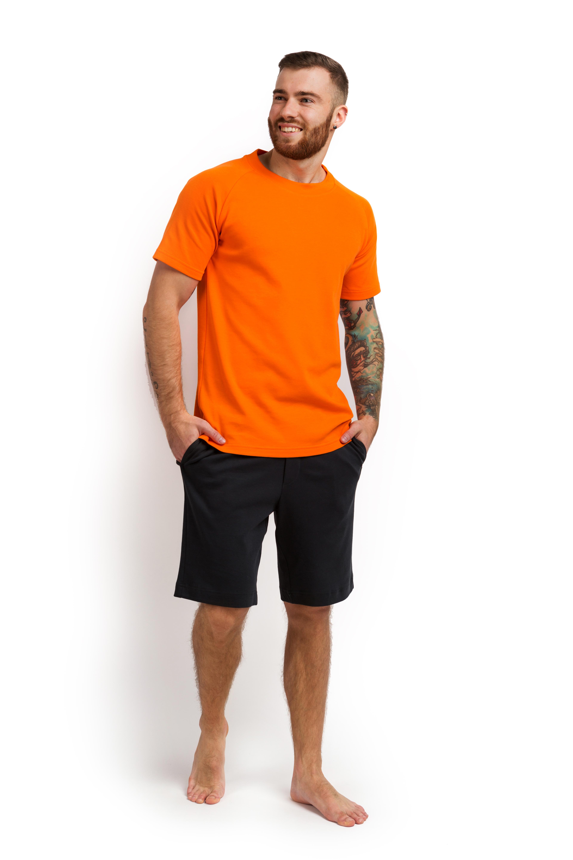 Пижама мужская (футболка и шорты) оранжевый с графитовым MansSet