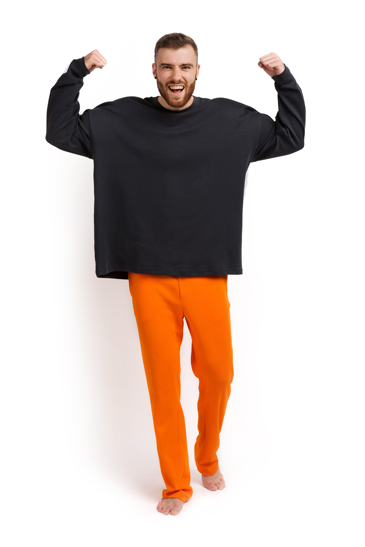 Пижама мужская (лонгслив и штаны) графитовый с оранжевым XXL-XXXL MansSet