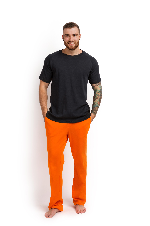 Пижама мужская (футболка и штаны) графитовый с оранжевым MansSet