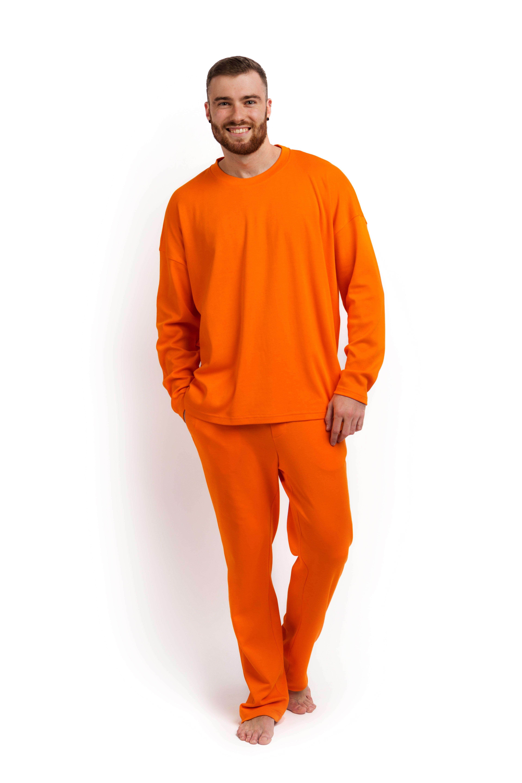 Пижама мужская (лонгслив и брюки) оранжевая MansSet