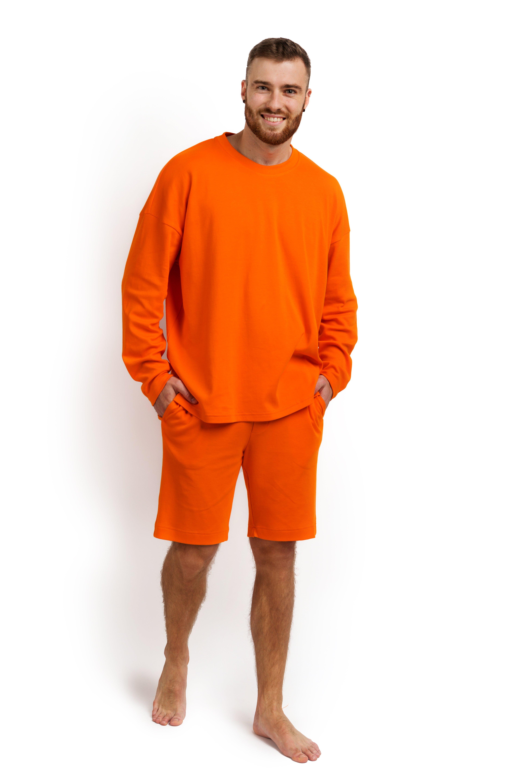 Пижама мужская (лонгслив и шорты) оранжевая MansSet