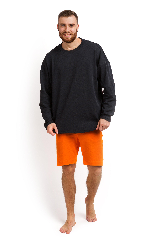 Пижама мужская (лонгслив и шорты) графитовый с оранжевым M-XL MansSet