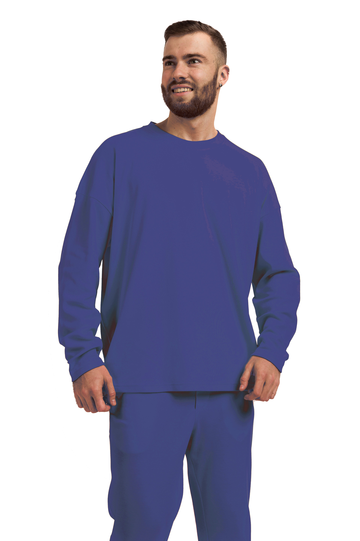Лонгслив мужской Oversize хлопок тёмно-синий M-XL MansSet