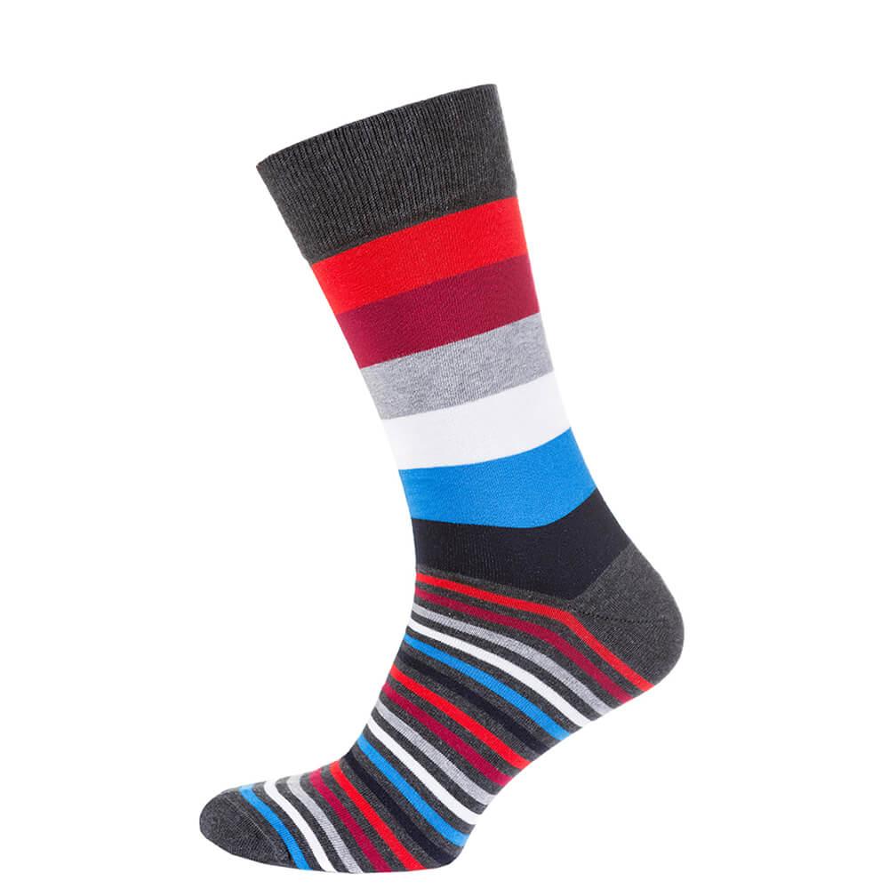 Носки мужские цветные из хлопка, красно-синяя полоска MansSet