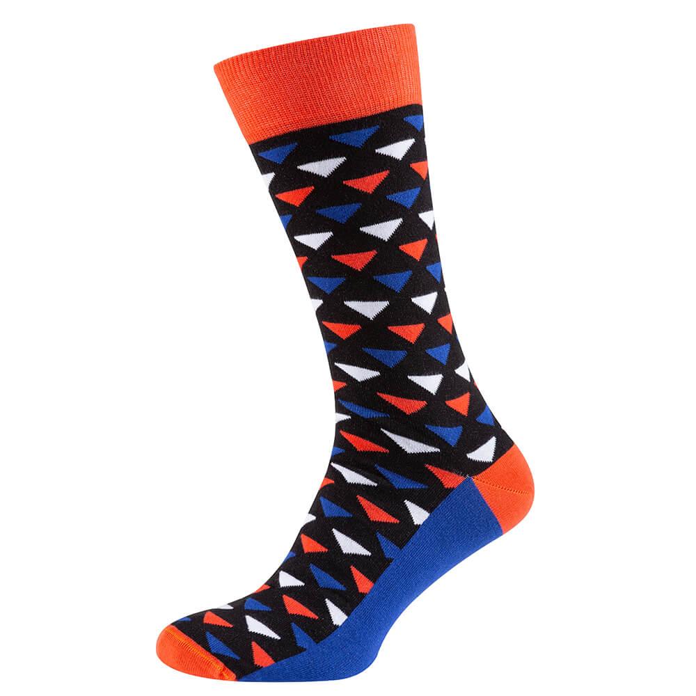 Носки мужские цветные из хлопка, кораллово-синий треугольник MansSet