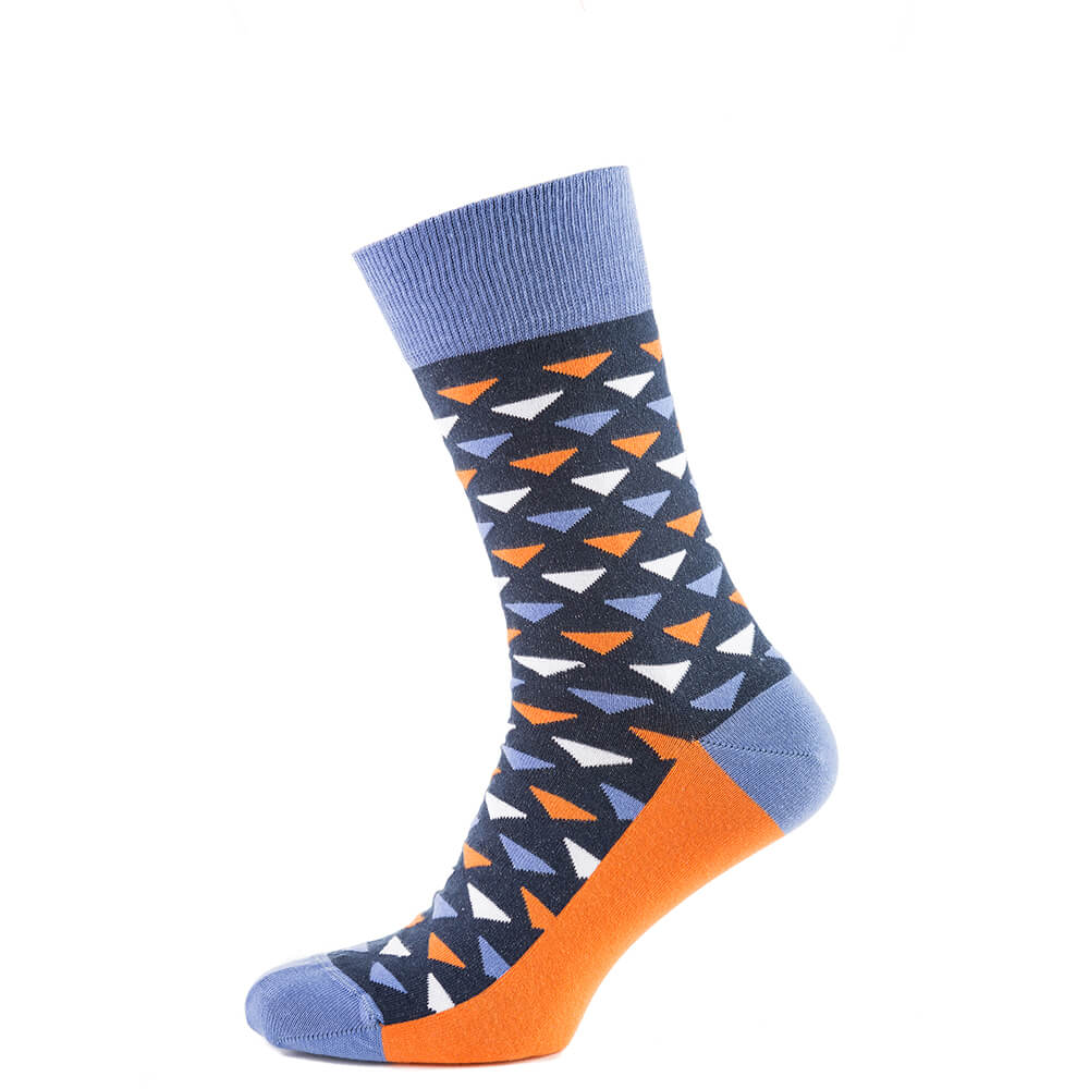 Носки мужские цветные из хлопка, сине-оранжевый треугольник MansSet