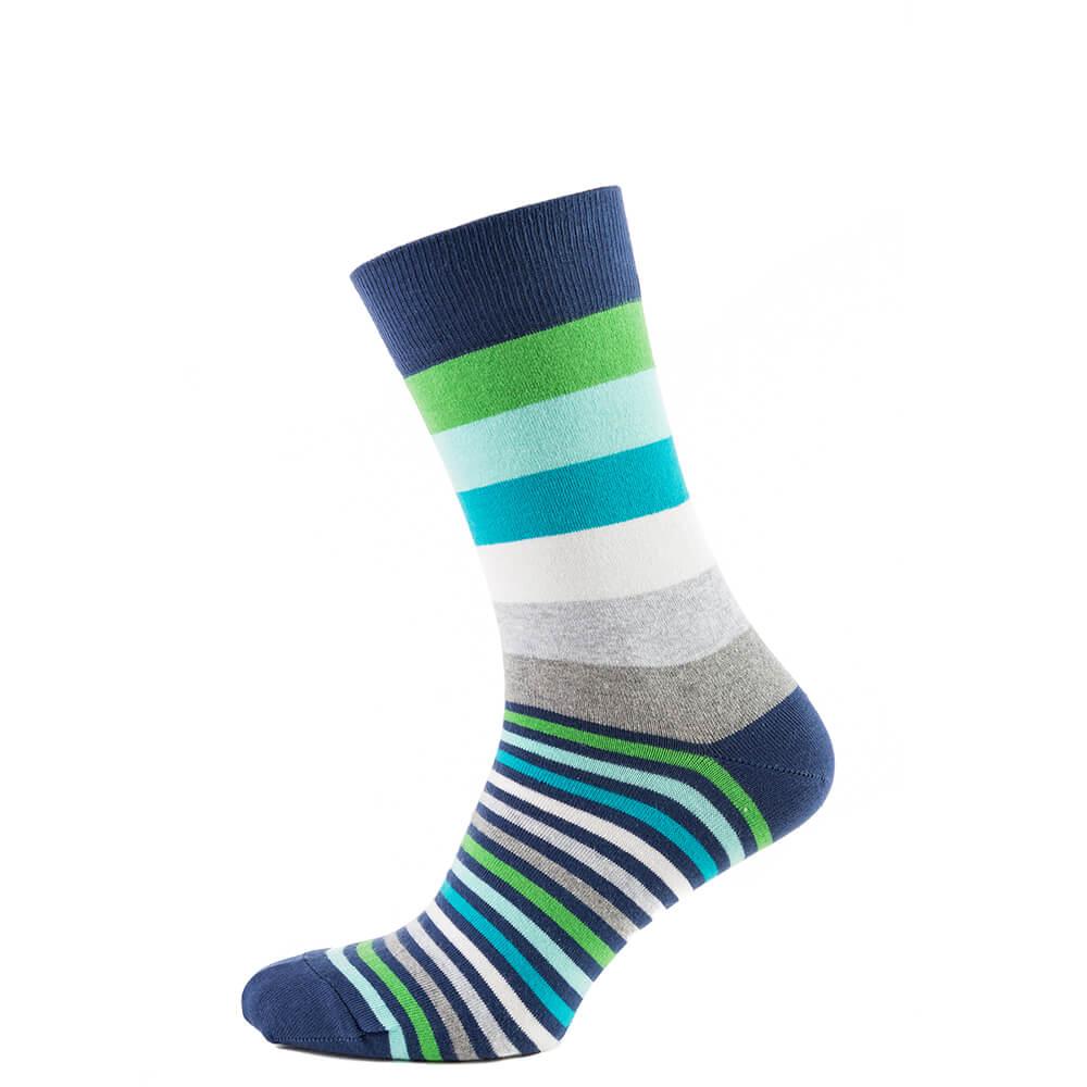 Носки мужские цветные из хлопка, салатово-голубая полоска MansSet