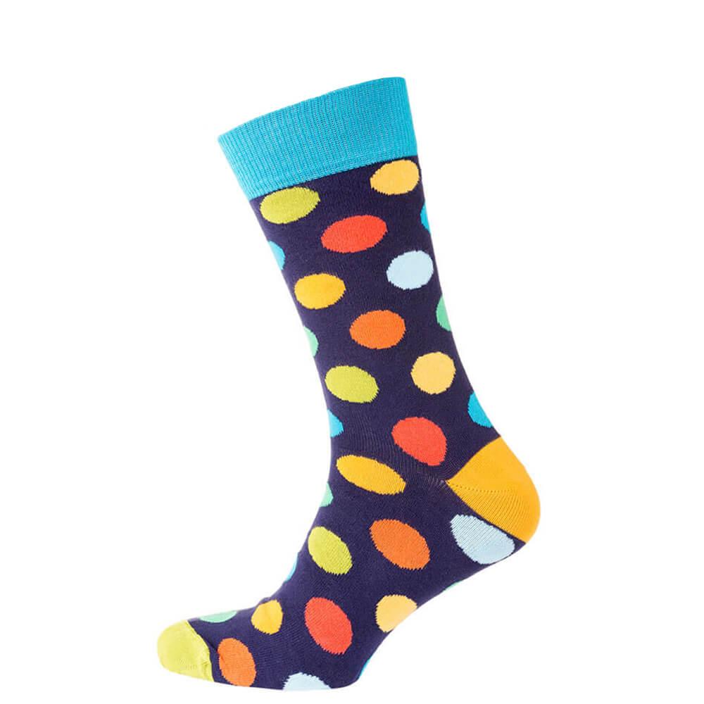 Носки мужские цветные из хлопка, голубой в цветной горошек MansSet