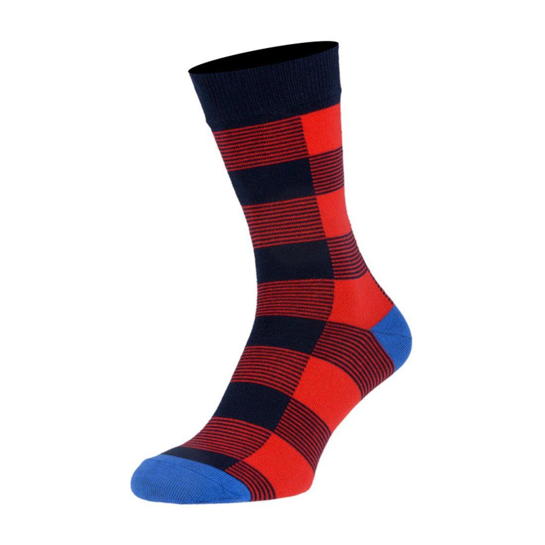 Носки мужские цветные из хлопка, красная клетка MansSet