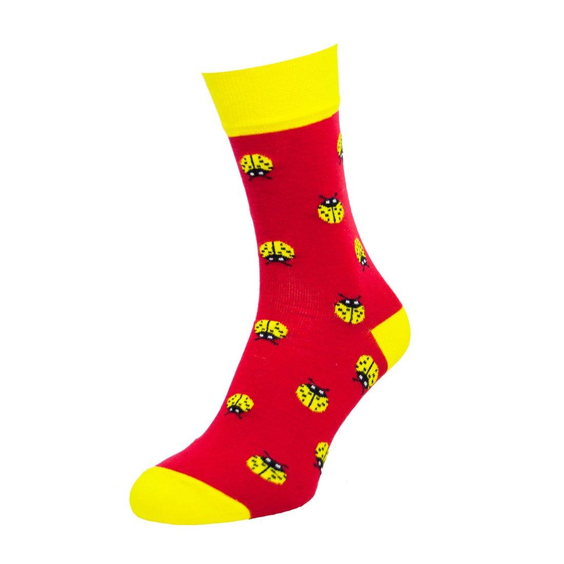 Носки мужские цветные из хлопка, божья коровка, красные MansSet