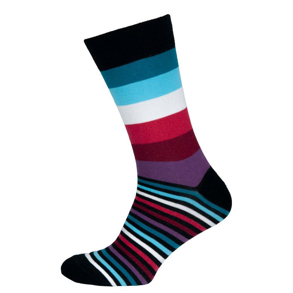 Носки мужские цветные из хлопка, фиолетово-голубая полоска MansSet