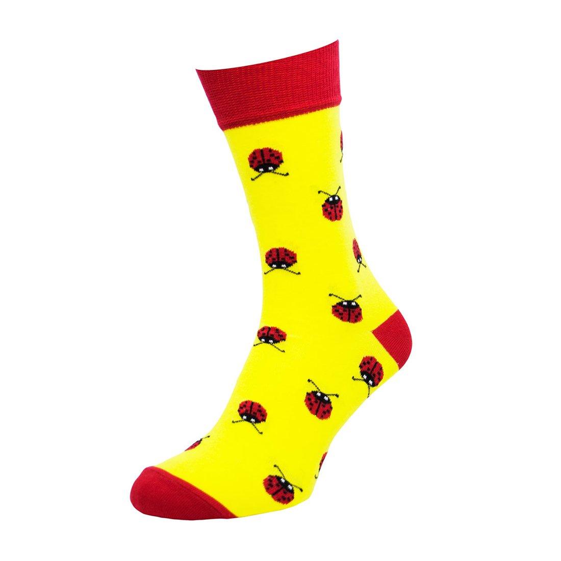 Носки мужские цветные из хлопка, божья коровка, жёлтые MansSet