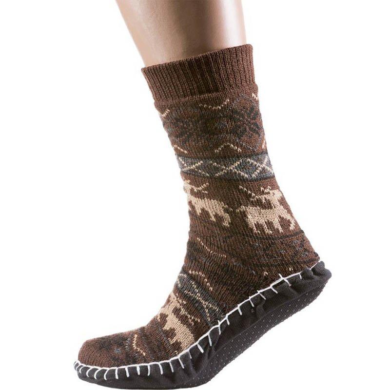 Мужские тёплые домашние носки с подошвой, бежевый