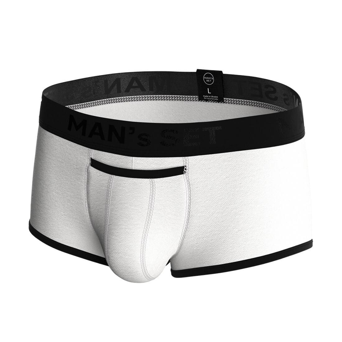 Мужские анатомические спортивные боксеры из хлопка, Sport Black Series, белый