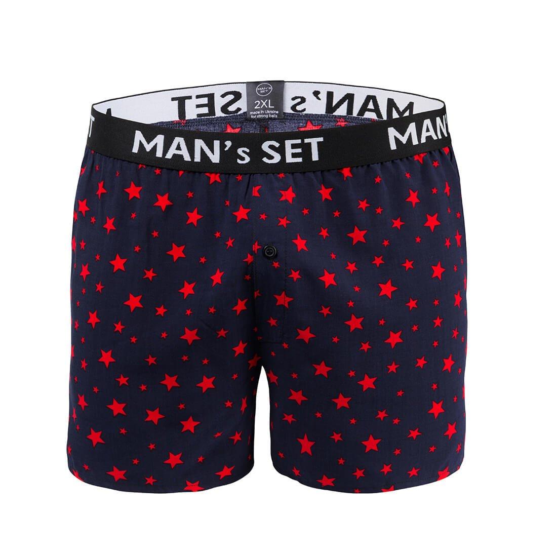 Семейки мужские из 100% хлопка, Shorts, тёмно-синий с красными звездами MansSet