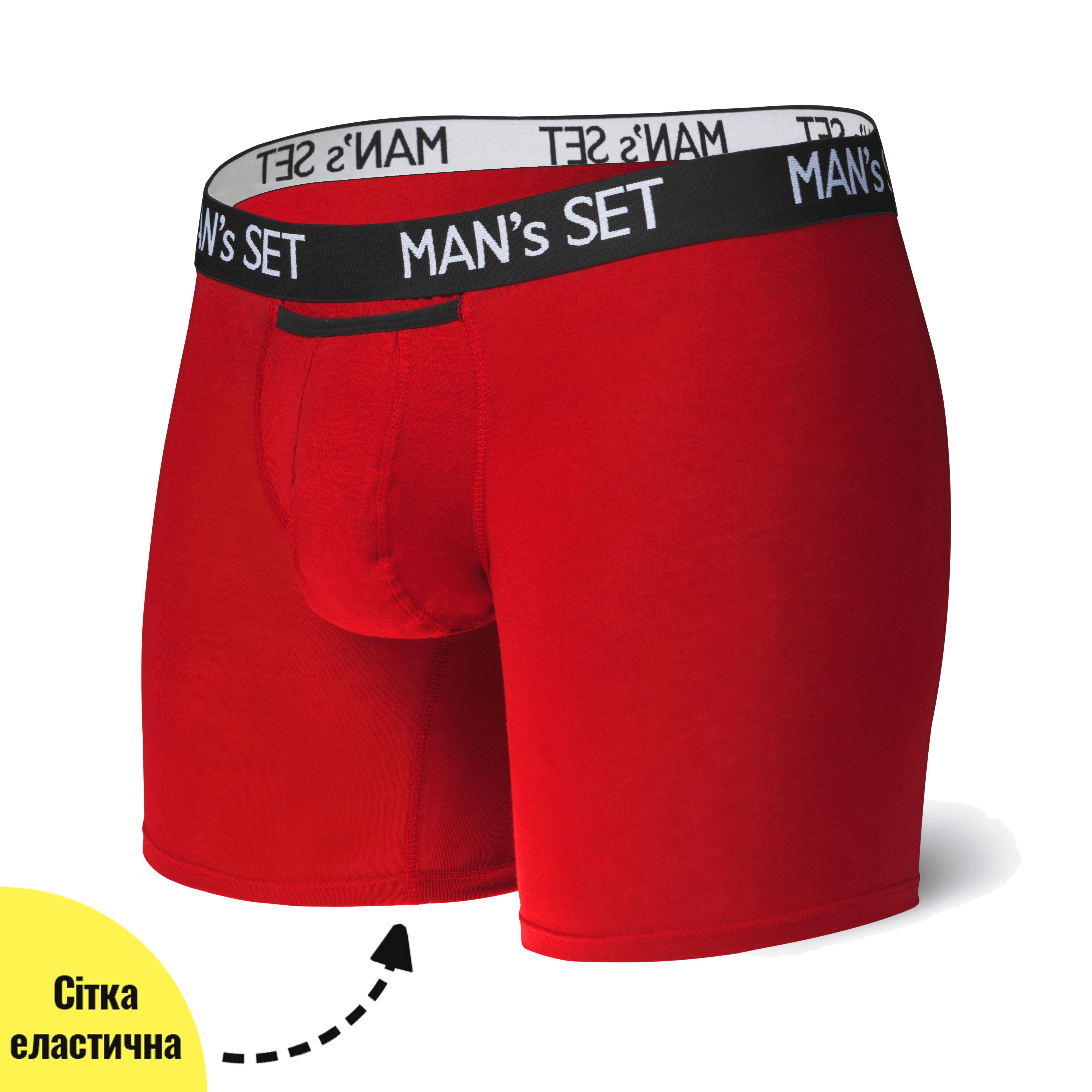 Анатомические боксеры с сеткой Long Light, красный MansSet